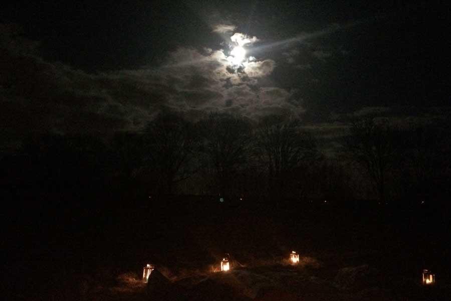 Lantaarns in een door de maan verlicht veld