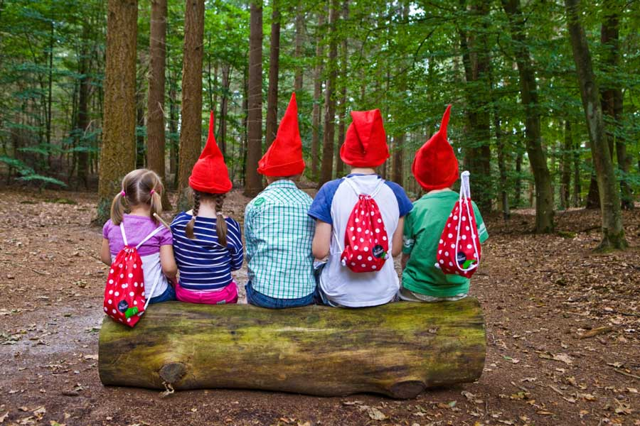 Vijf kinderen zitten op een boomstam verkleed als kabouters